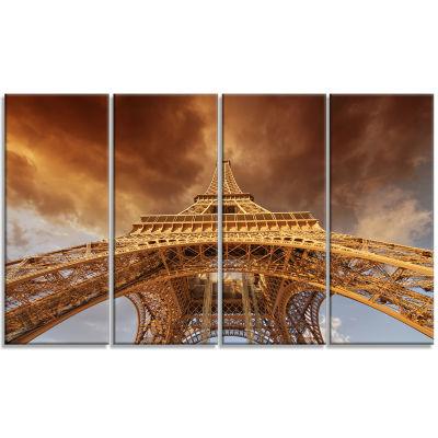 Designart Beautiful View Of Paris Eiffel Tower Cityscape Canvas Print - 4 Panels