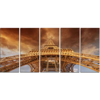 Design Art Beautiful View Of Paris Eiffel Tower Cityscape Canvas Print - 5 Panels