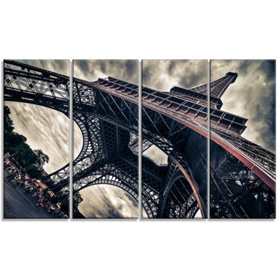 Designart Paris Eiffel Tower in Grungy Dramatic Style Cityscape Canvas Print - 4 Panels