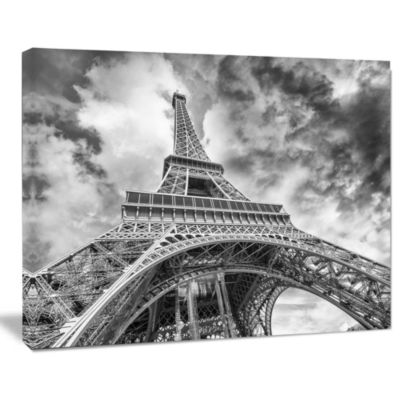 Designart Black And White View Of Paris Eiffel Tower Cityscape Canvas Print