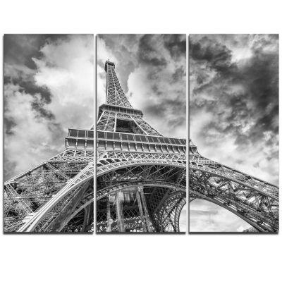 Designart Black And White View Of Paris Eiffel Tower Cityscape Canvas Print - 3 Panels