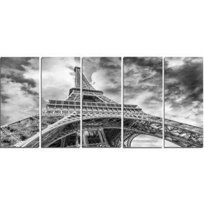 Design Art Black And White View Of Paris Eiffel Tower Cityscape Canvas Print - 5 Panels