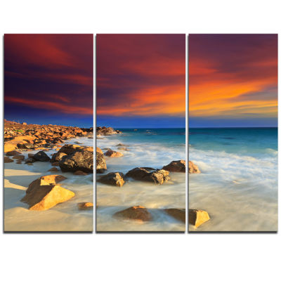 Designart Beach With Stones On Foreground SeascapeArt Canvas - 3 Panels