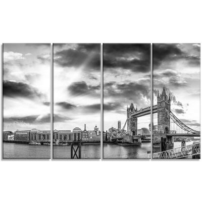 Design Art Black And White View Of London Panorama Cityscape Canvas Print - 4 Panels