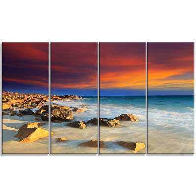 Design Art Beach With Stones On Foreground Seascape Art Canvas - 4 Panels