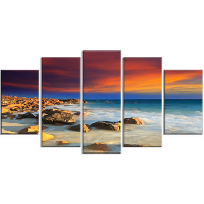 Designart Beach With Stones On Foreground SeascapeArt Canvas - 5 Panels