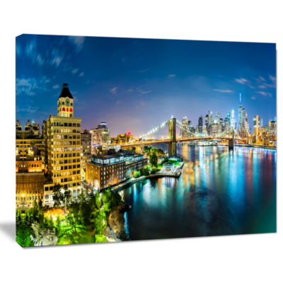 Designart Colorful New York City Panoramic View Cityscape Canvas Print