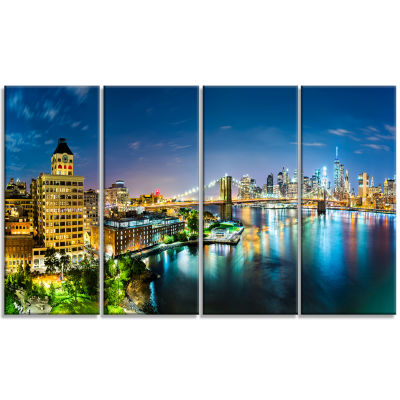 Design Art Colorful New York City Panoramic View Cityscape Canvas Print - 4 Panels