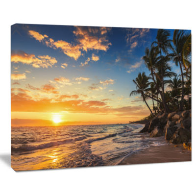 Designart Paradise Tropical Island Beach With Palms Seascape Art Canvas