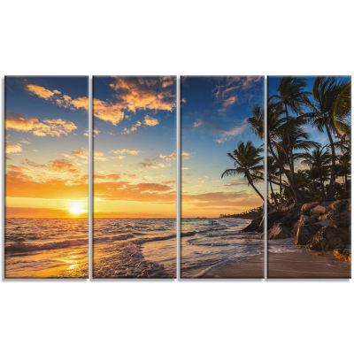 Design Art Paradise Tropical Island Beach With Palms Seascape Art Canvas - 4 Panels