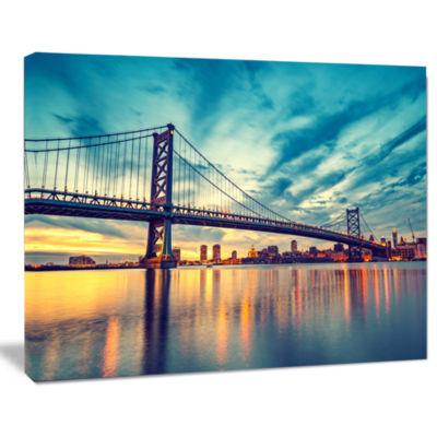Designart Ben Franklin Bridge In Philadelphia Cityscape Canvas Print