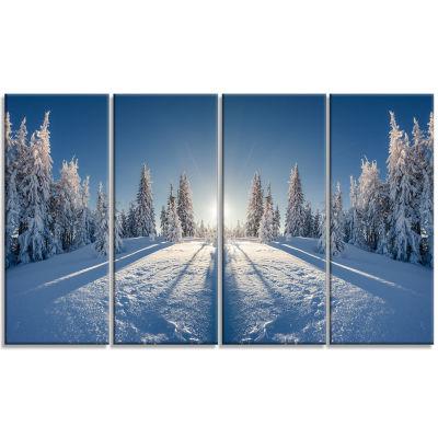 Design Art Majestic White Winter Landscape Print Wall Artwork - 4 Panels