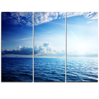 Designart Blue Caribbean Sea And Perfect Blue SkyArt Canvas - 3 Panels