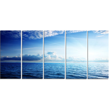 Design Art Blue Caribbean Sea And Perfect Blue Sky Art Canvas - 5 Panels