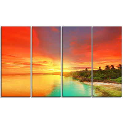Design Art Beautiful Coastline In Philippines Seascape Art Canvas - 4 Panels