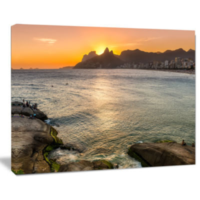 Designart Ipanema In Rio De Janeiro Sunset Seascape Art Canvas