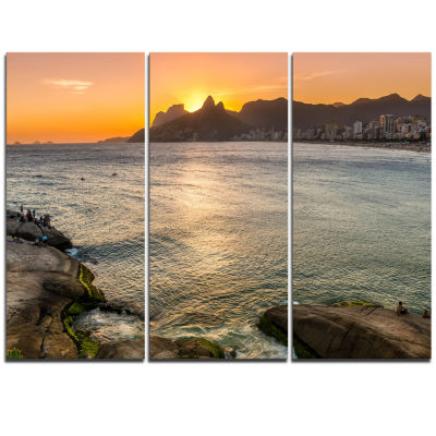 Designart Ipanema In Rio De Janeiro Sunset Seascape Art Canvas - 3 Panels