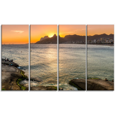Design Art Ipanema In Rio De Janeiro Sunset Seascape Art Canvas - 4 Panels