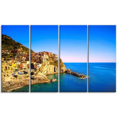 Design Art Manarola Village Seashore Italy Seashore Canvas Art - 4 Panels