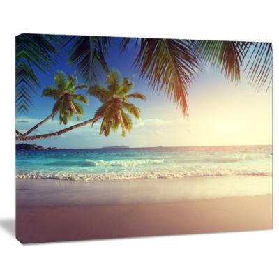 Designart Typical Sunset On Seychelles Beach Seascape Art Canvas
