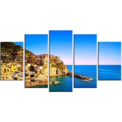 Designart Manarola Village Seashore Italy SeashoreCanvas Art - 5 Panels