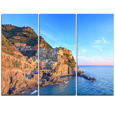 Design Art Manarola Village Cinque Terre Italy Seashore Canvas Art - 3 Panels