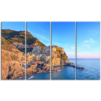 Design Art Manarola Village Cinque Terre Italy Seashore Canvas Art - 4 Panels