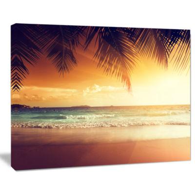 Designart Palm Leaves On Caribbean Seashore ModernSeashore Canvas Art