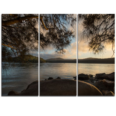 Design Art Sunrise From Hawsbury River Seashore Canvas Print - 3 Panels