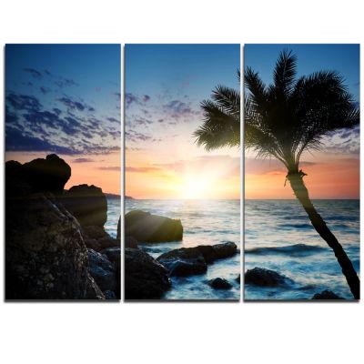 Designart Lonely Palm Tree On Rocky Beach Modern Seashore Canvas Art - 3 Panels