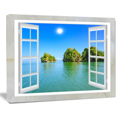 Designart Open Window To Ocean Islets Landscape Wall Art Print