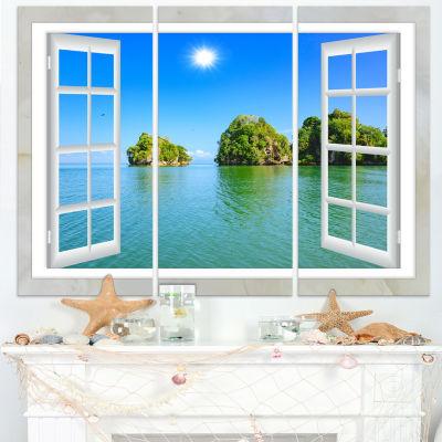 Design Art Open Window To Ocean Islets Landscape Wall Art Print - 3 Panels