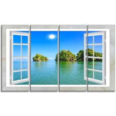 Design Art Open Window To Ocean Islets Landscape Wall Art Print - 4 Panels