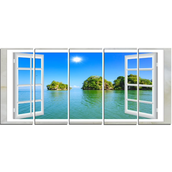 Designart Open Window To Ocean Islets Landscape Wall Art Print - 5 Panels