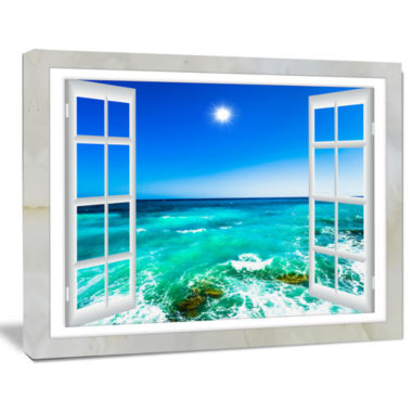 Design Art Open Window To Wavy Ocean Seashore Canvas Art