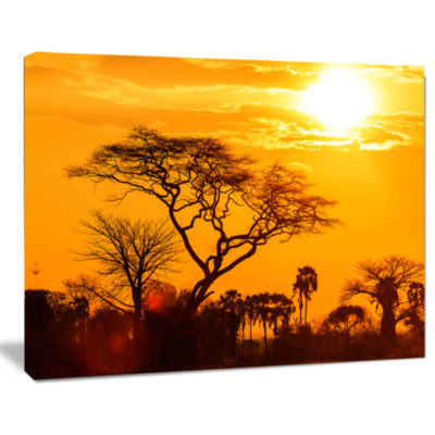 Designart Orange Glow Of African Sunset Wall Art Landscape