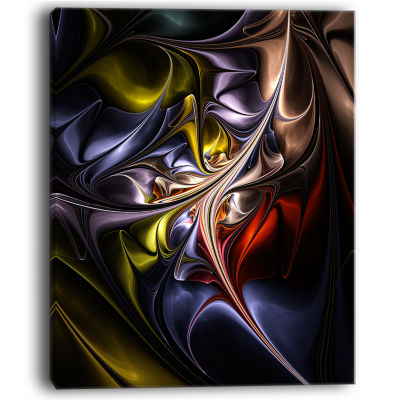 Designart Multicolored Stained Floral Shapes WallArt Canvas
