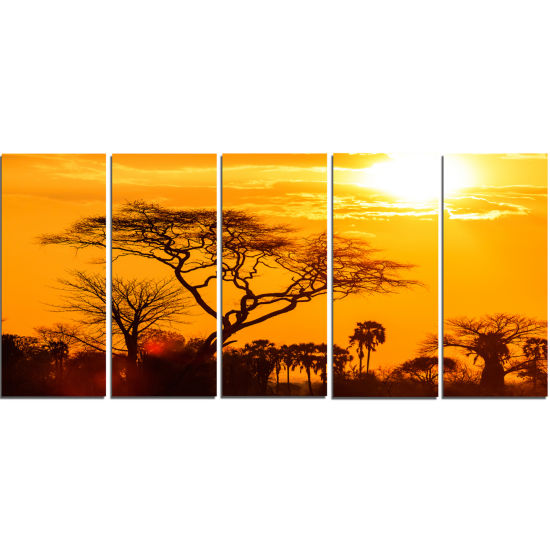 Designart Orange Glow Of African Sunset Wall Art Landscape - 5 Panels