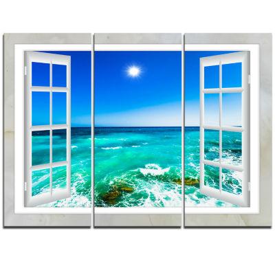 Designart Open Window To Wavy Ocean Seashore Canvas Art - 3 Panels