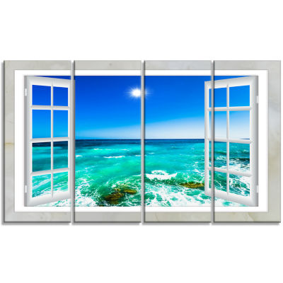 Designart Open Window To Wavy Ocean Seashore Canvas Art - 4 Panels