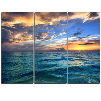 Designart Exotic Tropical Beach At Sunset Modern Seashore Canvas Art - 3 Panels