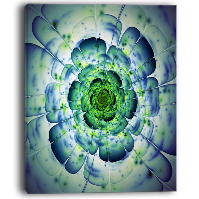 Design Art Blue Mandala Fractal Flower Wall Art Canvas