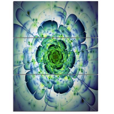 Design Art Blue Mandala Fractal Flower Wall Art Canvas - 3 Panels