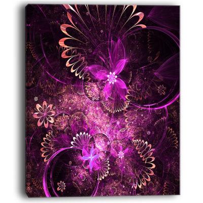 Designart Glossy Bright Purple Fractal Flower WallArt Canvas