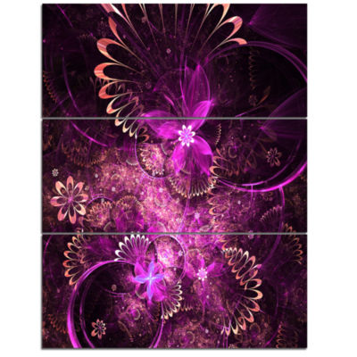 Design Art Glossy Bright Purple Fractal Flower Wall Art Canvas - 3 Panels