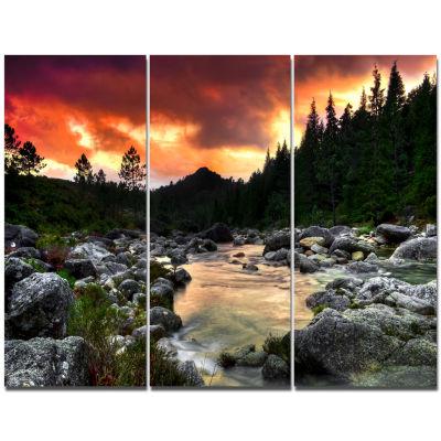 Design Art Rocky Mountain River At Sunset Wall Art Landscape - 3 Panels