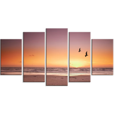 Designart Beach Sunset And Sea Gulls Modern Seashore Canvas Art - 5 Panels