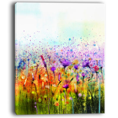 Designart Abstract Cosmos Of Colorful Flowers Canvas Wall Art
