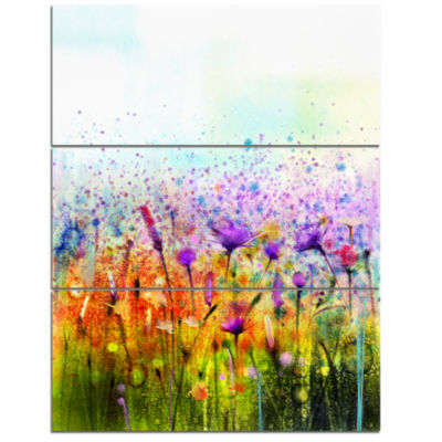 Designart Abstract Cosmos Of Colorful Flowers Canvas Wall Art - 3 Panels