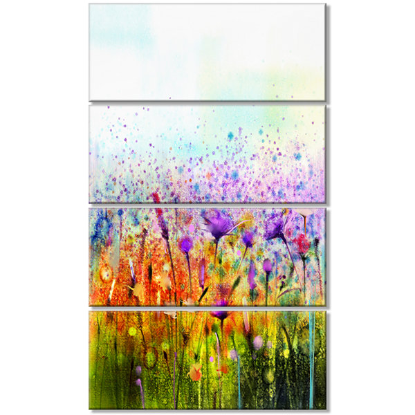 Designart Abstract Cosmos Of Colorful Flowers Canvas Wall Art - 4 Panels